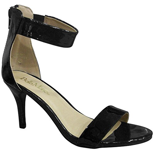 Adora Patent Open Bella Ankle Black Marie Sandals 11 Strap Toe Womens EW7q6