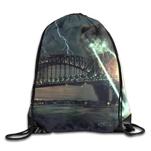 Private Bath Customiz Drawstring Bags Explosion Laser Bear Sydney Harbor Bridge Unisex Gym Drawstring Shoulder Bag Backpack Travel School Rucksack String Bags