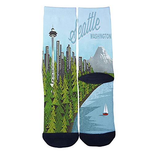 Mens Womens Casual Seattle Space Needle Washington State Socks Crazy Custom Socks Creative Personality Crew Socks Black