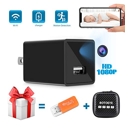 Hidden Camera, Mini USB Hidden Camera WiFi, 1080P HD Wide-Angle Lens Home Security Camera Wireless, Baby Camera with Activity Detection Alert, Nanny Cam Remote Monitor with Cell Phone App