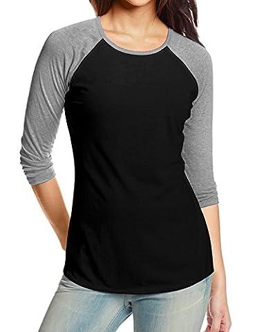 REGNA X women's Fit Relaxed Flowy long sleeve baseball T-shirts Top Light Grey - Long Sleeve Raglan Baseball