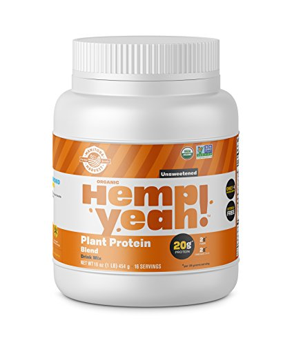Manitoba Harvest Hemp Yeah! Organic Plant-Based Protein Powder, Unsweetened, 16oz; with 20g of Protein, 2g of Fiber & 2g Omegas 3&6 Per Serving, Preservative Free, Non-GMO