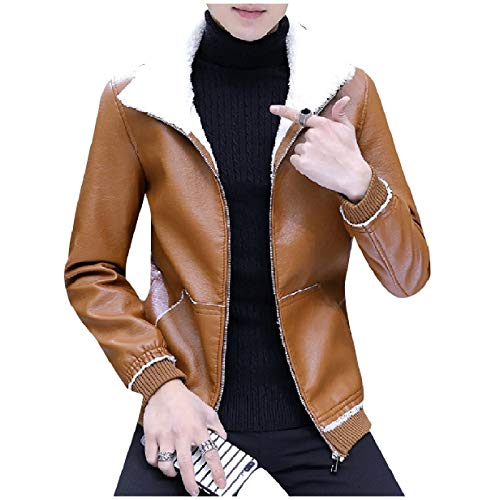 Oversized Leather Up Down Turn Zip Collar Khaki MogogoMen Jacket Pu Thickened d18Sdq