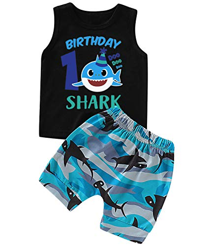 Shalofer Baby Boy Birthday Shark Funny Short Set (Black-1ST, 6-12 Months)