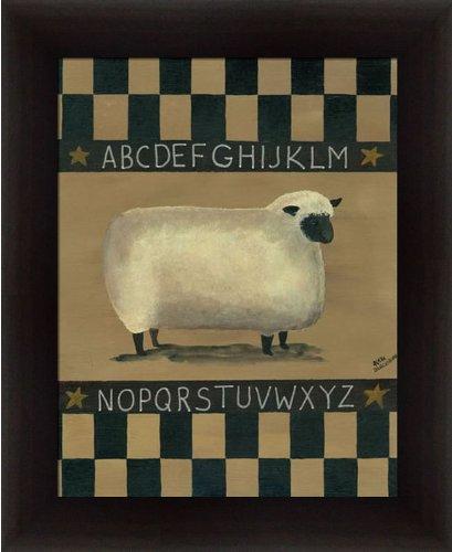 Sampler Print (ABC Sheep Sampler Aleta Blackstone Primitive Folk Art Country 13.5x16.5 in Framed Art Print Picture)
