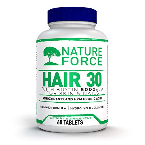 Nature Force Hair 30 Days Supply with Biotin 5000 and Collagen for Skin and Nails