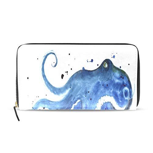 (Octopus Sea Devilfish Water Color Long Passport Clutch Purses Zipper Wallet Case Handbag Money Organizer Bag Credit Card Holder For Lady Women Girl Men Travel Gift)