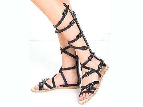 Pisos de Balenciaga sandalias gladiador en piel de becerro negra - Número de modelo: 410931 WASC0 1000 negro