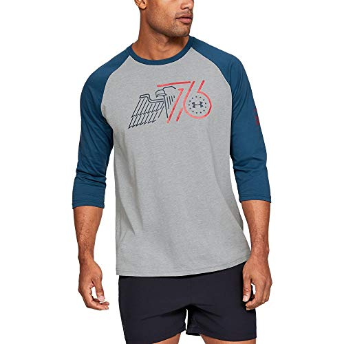 Freedom Womens Cut T-shirt - Under Armour Freedom Eagle 76 Utility T-Shirt, Steel Light Heather//Petrol Blue, X-Large