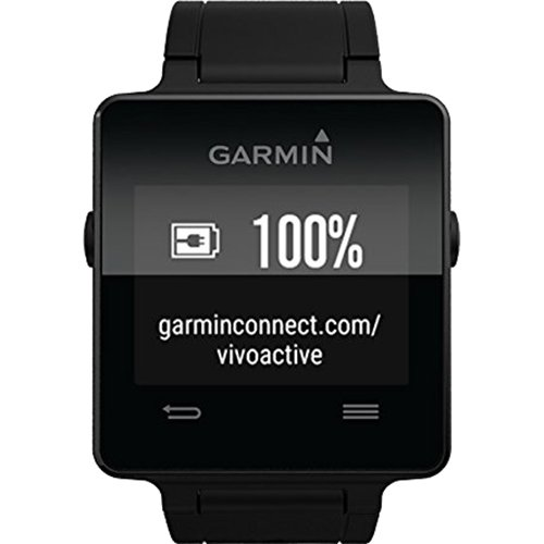 Garmin Vivoactive Smartwatch Bundle Black w/ Replacement White Strap