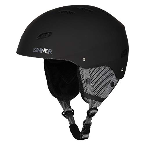 SINNER Bingham Unisex Outdoor Snow Sports Snowboard & Ski Helmet Black for Men, Women & Youth - Light Weight, Style Performance & Safety. Comfortable with Adjustable fit. Size (XL) (Sinner Goggles)