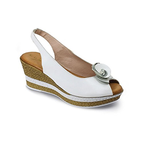 Lunar Salvador Leather Sandal in Black, Silver and White 3,4,5,6,7,8, 36,37,38,39,40,41 White