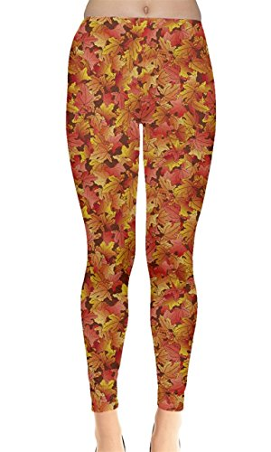 CowCow Brown Pattern Fallen Autumn Warm Shades Leaves Leggings, (Autumn Leaves Pattern)