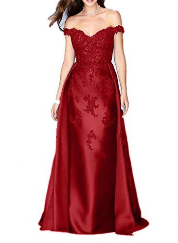 Schulterfrei Lang Abendkleider La Brautmutterkleider mia Festlichkleider Braut Abschlussballkleider Rot Dunkel Satin Etuikleider Fuchsia Dunkel YTwWgIwvq