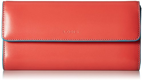 Lodis Women's Audrey Chckbkcltchwlt Cts Checkbook Cover, Coral/Turquoise, One Size