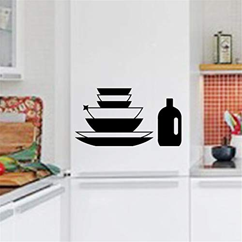 lsenag Wall Decal Sticker Art Mural Home Dcor Quote Kitchen Plates and Bottle Fridge for Kitchen Dining - Dcor Plate Wall
