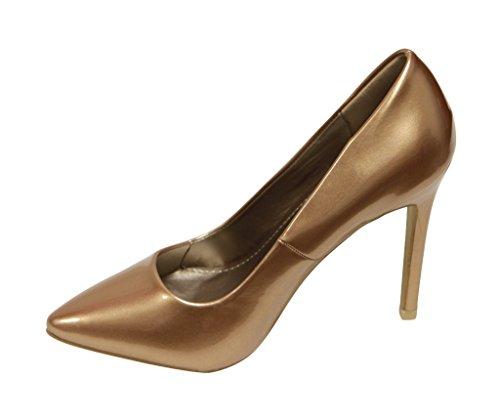 Voor Altijd Katelyn-10 Vrouwen Puntige Teen Hoge Hak Metallic Patent Stiletto Pumps Brons
