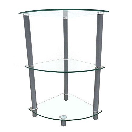 - Moon Daughter Push Wall Glass Table 3 Tiers Corner Shelf Stand Oragnizer Triangle Side Table Home Furniture Modren