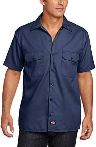 Dickies Men's Short Sleeve Work Shirt, Navy, Large
