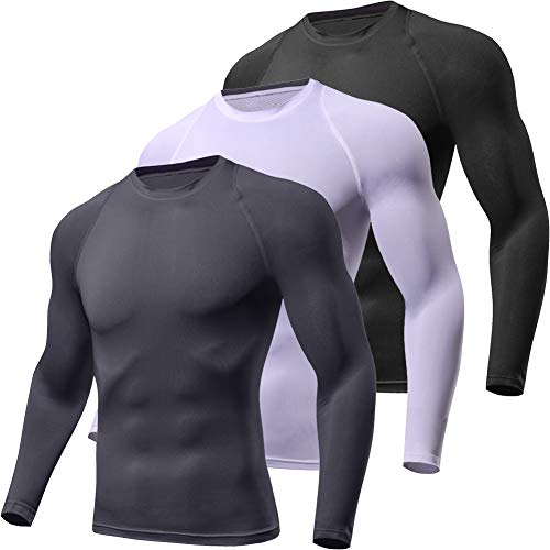 - Lavento Men's Compression Shirts Crewneck Long-Sleeve Dri Fit Workout Shirts (3 Pack-Black/White/Gray,X-Large)