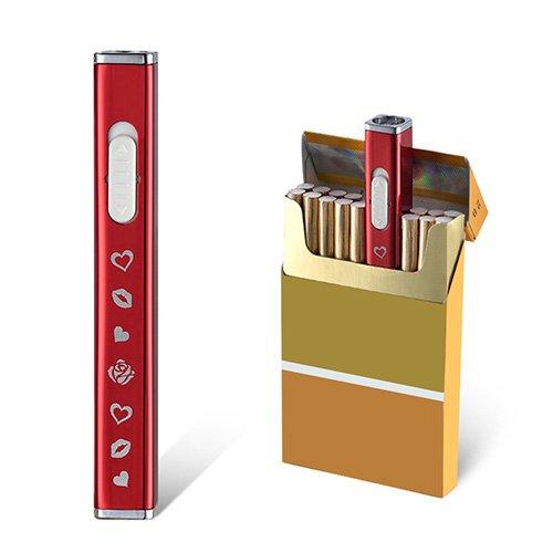 JOUGE Usb Mini Lighters Rechargeable Eletric Cigarette Lighter Flameless Windproof Lightweight Coil Slim Lighter (Red)