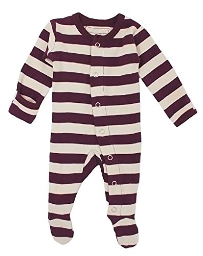 L'ovedbaby Unisex-Baby Organic Cotton Footed Overall (9-12 Months, Eggplant/Stone ()