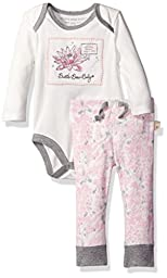 Burt\'s Bees Baby Girls\' Watercolor Organic Bodysuit + Pant Set, Vanilla Cream, 12 Months