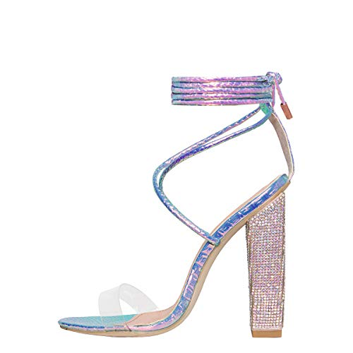 Rainbow Snake Clear Lace Up Diamante Heels US 10 -