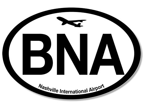 American Vinyl Oval BNA Nashville Airport Code Sticker (Jet Fly air hub Pilot tn)