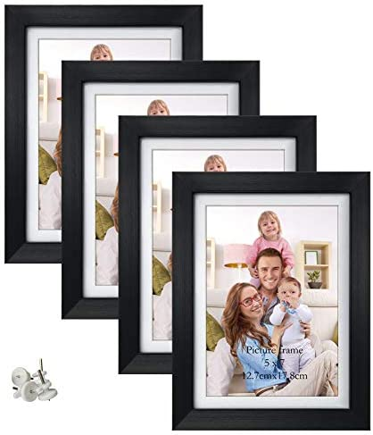 Giftgarden 5x7 Picture Frames Set of four, Display 5x7 Pictures with Mat or 6x8 with out Mat for Wall Decor Floating or Tabletop Decoration, Black