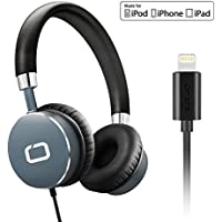Omars Nebula On Ear Headphones, High Resolution with Built-in DAC and Lightning Connector On-ear Wired Headset for Apple iOS iPhone 7 / 7 Plus, iPad, iPod