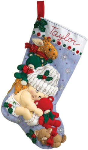 Bucilla 18-Inch Christmas Stocking Felt Applique Kit, 86277 Baby's 1st Christmas
