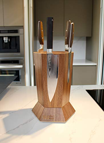360 Knife Block - (Walnut) ROTATING - Magnetic - BEST Universal Knife Block by 360 Knife Block (Image #6)