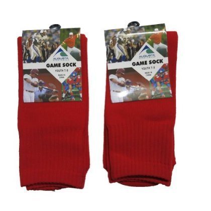 Augusta Sportswear 6021 Youth Game Socks RED 2 PACK