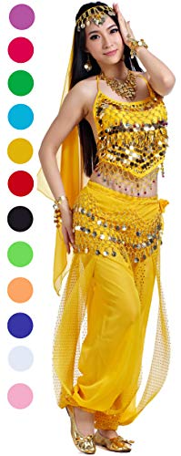 Adult Genie Outfit Bollywood Costume Accessories Belly Dance Top and Pants Costumes for Women Yellow -
