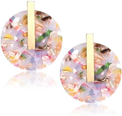 Acetate Resin EarringsRose Pink White Confetti Swirl EarringPink White Statement EarringsGeometric Modern EarringsPeach Tortoise earring