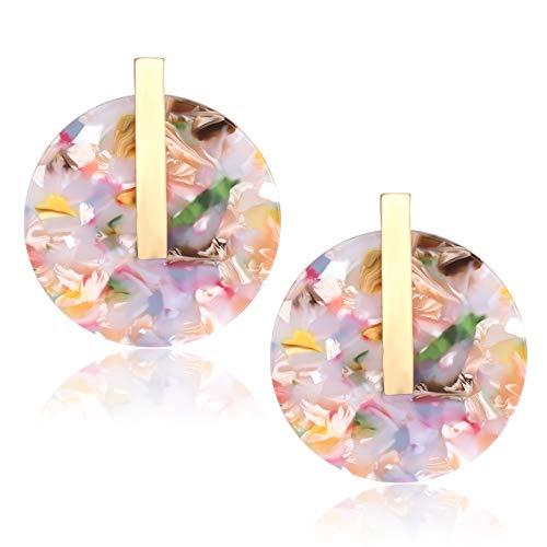 YOUMI Acrylic Earrings for Women Statement Resin Acetate Earrings Tortoiseshell Disk Stud Earrings Bohemia Geometry Round Hoop Earrings (Floral) - Earrings Floral Round