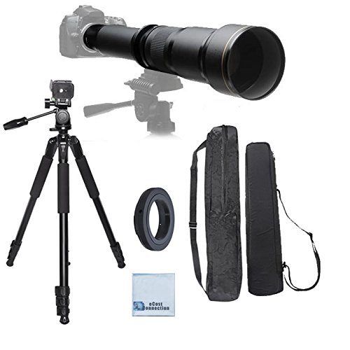 Elite Series 650-1300MM F/8-F/16 Super TelePhoto Zoom Lens with Manual Focus + T-Mount for Digital SLR for Sony A58, A65, A77, A99, A700, Cameras & More + 80-Inch Elite Series Professional Heavy Duty Camera Tripod