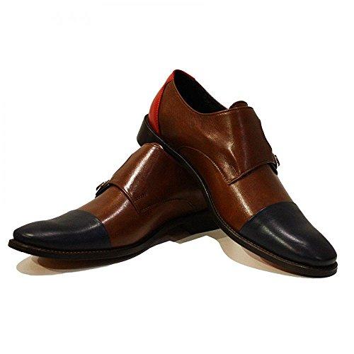 PeppeShoes Modello Tiziano - Handmade Italiano da Uomo in Pelle Marrone Scarpe da monaci - Vacchetta Pelle Morbido - Fibbia