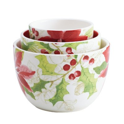 Paula Deen Signature Dinnerware Holiday Floral Collection 3-Piece Nested Bowl Set Assorted - Festive Poinsettia Basket