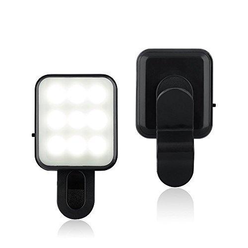 CSBROTHER Mini Selfie Beauty Fill Light [2 Adjustable Brightness] Portable Spot Spotlight Clip Phone Flash LEDS Night Enhancing Flashlight for Any Cell Tablet Apple iPhone 6s/5/6 Plus (Black) by CSBROTHER