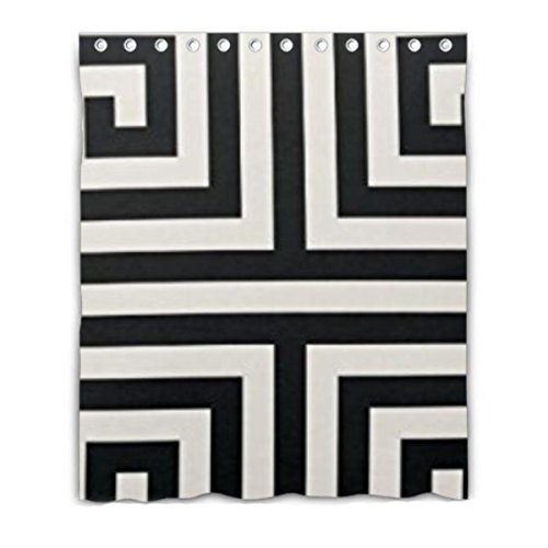 Chic Black And White Greek Key Geometric Patterns Custom for , , Etc Window Curtain 52