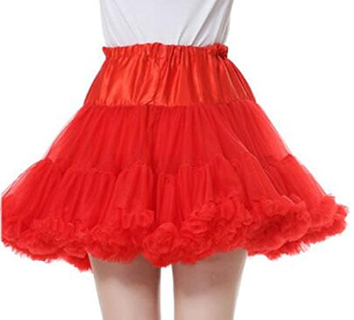 Dannifore Women's A-Line Short Red Petticoat Crinoline Girls