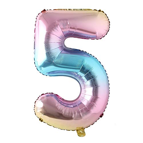 40 inch Rainbow Gradient Colorful Big Size Number Foil Helium Balloons Birthday Party Celebration Decoration Large globos (40 inch 5 Rainbow)