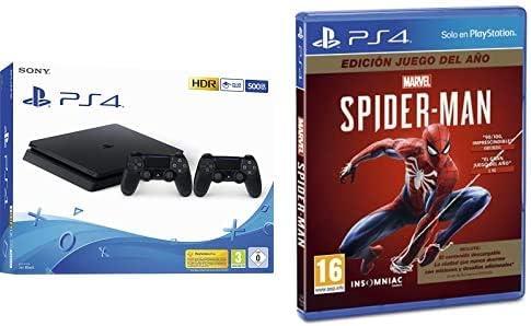 Consola Playstation 4 de 500GB con 2 mandos + Spider-Man edición juego del año por 329,99€