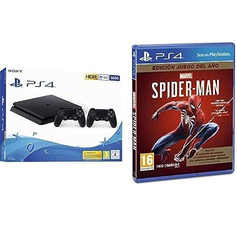 Playstation 4 (PS4) - Consola 500 Gb + 2 Mandos Dual Shock 4 (Edición Exclusiva Amazon) + Spiderman GOTY: Amazon.es: Videojuegos
