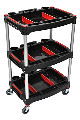Luxor Rolling 3 Shelf Mechanics Tool Storage Utility Cart with 3'' Casters - Red/Black by Luxor