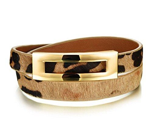 ZX Jewelry Leopard Leather Double Wrap Belt Leather Bracelet for Women Bangles Adjustable