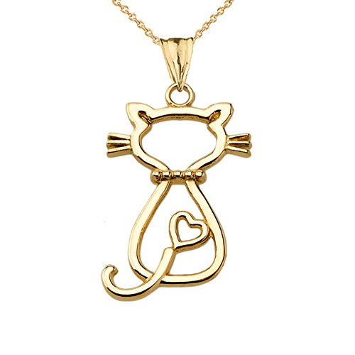 Unique 10k Yellow Gold Openwork Backwords Cat Charm Pendant Necklace, 18