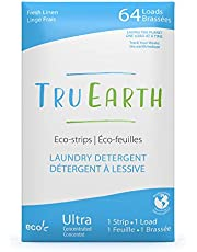 Tru Earth Eco-Strips Laundry Detergent (Fresh Linen Scent) - Eco-friendly Ultra Concentrated Compostable & Biodegradable Plastic-Free Laundry Detergent Sheets